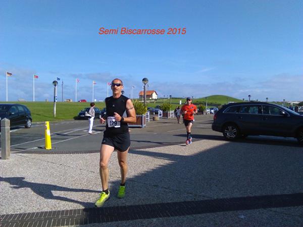 Fabrice au  semi-marathon de Biscarosse 2015